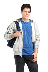 A portrait of a male student with a school bag