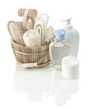 toiletry articles and wooden bucket poster