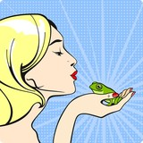 Fototapety Young woman kissing a frog