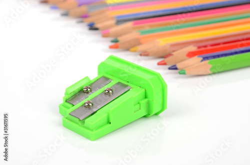 color pencil and sharpener
