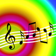 Bright music background with random musical symbols