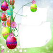 Spring or Easter background with Colorful easter eggs and flower