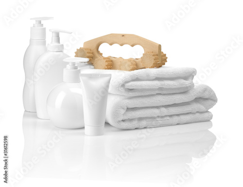 white bathing articles with massager