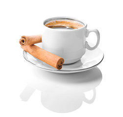 white coffe cup with cinnamon