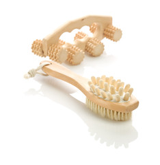 wooden massagers isolated