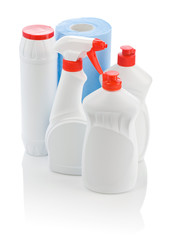 bottles for cleaning and blue towel