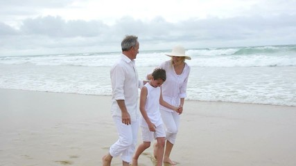 Family walking on a sandy beach