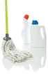mop and cleaning bottles