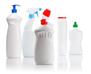 set of cleaning bottles