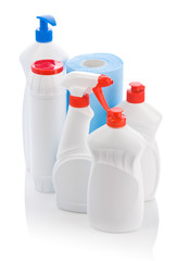 set of fhite bottles and towel