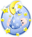Neonato Bambino con Luna Cartoon-Baby Boy on Moon-Vector
