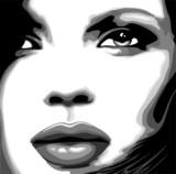 Viso Donna Clip Art-Stylized Woman Girl's Face-Vector