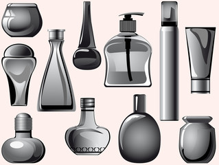 flasks, jars, containers, tubes of body care products.