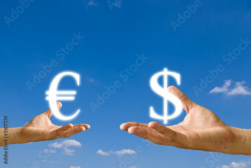 Small hand exchange the Euro icon  with the Dollar icon