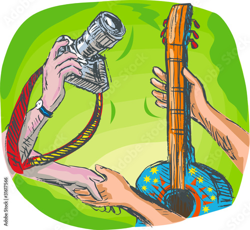 hand holding camera and guitar swapping