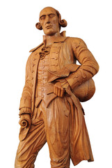 Wooden statue of Captain Sir Francis Light. Path.