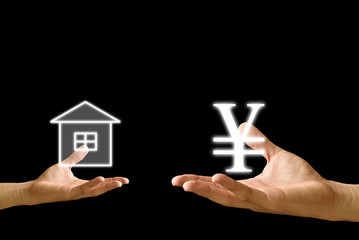 Small hand exchange house with Yen icon from the big hand