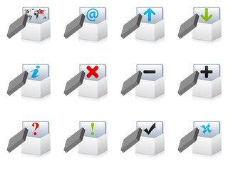 white open boxes with office icons
