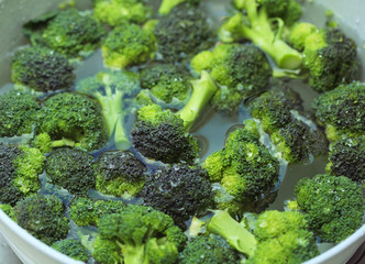 Broccoli in water ready for green salad