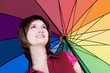 Beautiful woman with colorful umbrella