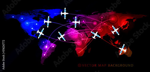 Map witn airplane