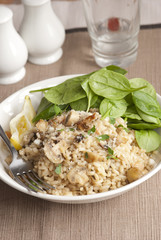 Spinach, mushroom and lemon pilaf in a bowl