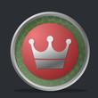 Detaily fotografie koruna tmavě odznak s červenou a zelenou barvou