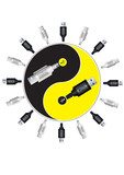 Yin-yang in usb style. Vector illustration.