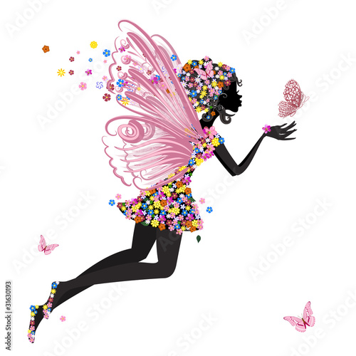 Plakat Flower Fairy with butterfly