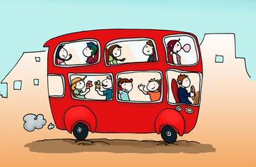 Allegro  autobus in città