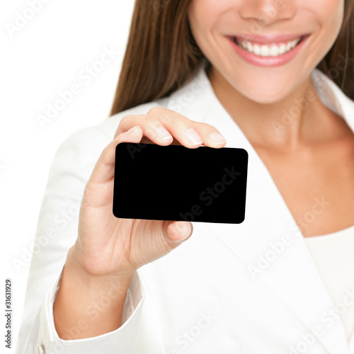 People showing business card: woman