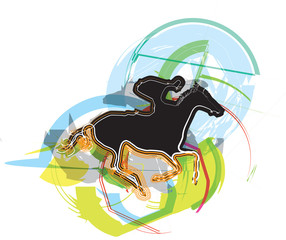 Abstract horses and riders silhouettes. Vector Illustration