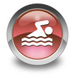 "Red Glossy Pictogram ""Swimming"""