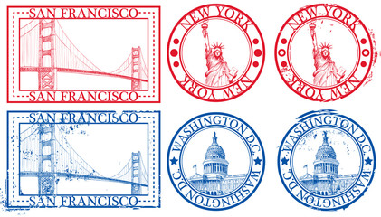 USA famous cities stamps