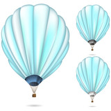 soft blue balloon set isolated on white background