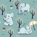funny seamless pattern with playful elephants