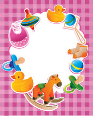 vector frame with children toys