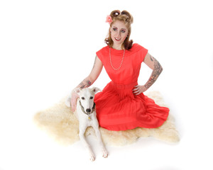 Pinup Model and Whippet