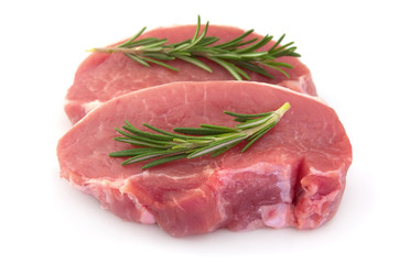 Crude meat with rosemary
