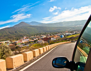 Picture from a car on a beautiful landscape in Tenerife, Spain
