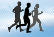 runners silhouettes on the abstract halftone background - vector