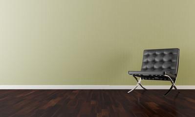 Sedia nera su parete gialla