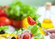 healthy food fresh vegetable salad and fork
