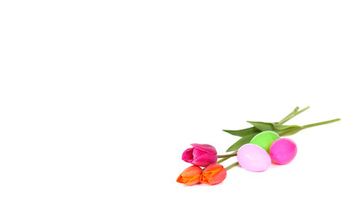 colourful tulips surrounded by easter eggs isolated