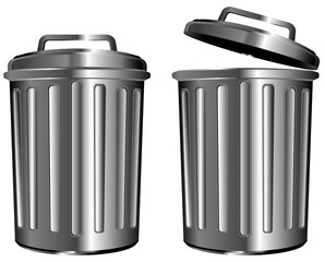 steel garbage isolated on white background
