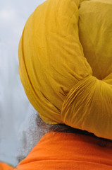 Sikh head with yellow turban