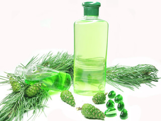 shower gel bottle with fir extract