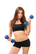 Fitness woman work out with blue dumbbells weights