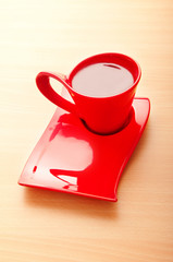 Cup of tea on the wooden background
