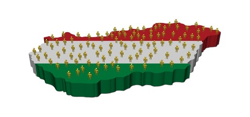 Hungary map flag with many people illustration